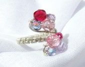 Romantic ring pink and purple beaded sterling silver plated handmade wire wrapped jewelry