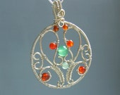 Tree of life Hungarian motif inspired necklace Aventurine carnelian silver plated wire wrapped handmade statement jewelry