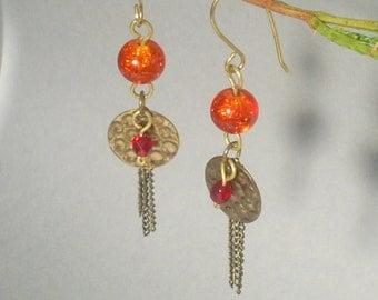 Golden dangle earrings, Upcycled vintage earrings, orange brass antiqued jewelry