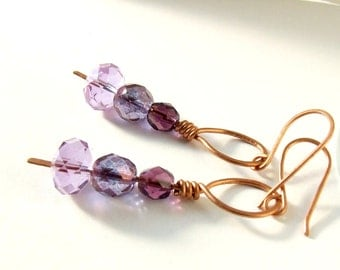 Crystal copper earrings, purple dangle earrings, handmade purple elegant jewelry