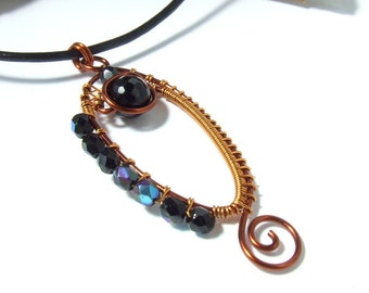 Black onyx necklace, gemstone copper jewelry, goth cool copper necklace