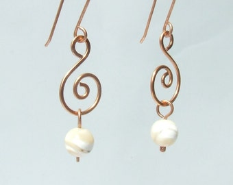 Mother of pearl earrings, sea shell copper earrings, handmade natural jewelry, elegant women gift