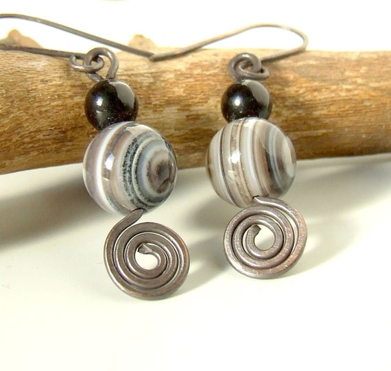 Striped agate  and onyx earrings stone beads wire wrapped antiqued rustic handmade jewelry