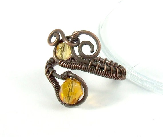 Copper amber brown ring antiqued rustic handmade wire wrapped jewelry