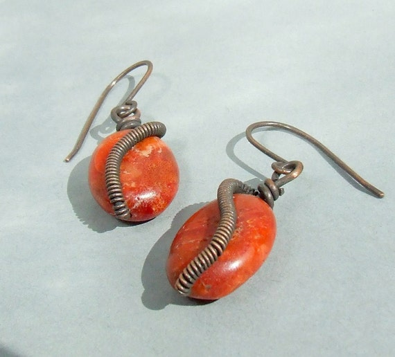 Red coral copper earrings wire wrapped handmade antiqued jewelry