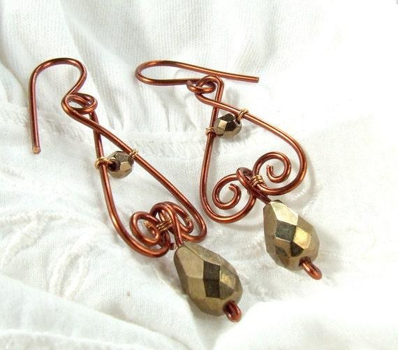 Bronze dangle earrings drop beads copper enameled wire wrapped jewelry