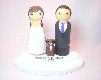 Custom Wedding Cake Toppers w/ 1 Pet and Pedestal - Hand Painted Wood Peg Cake Toppers