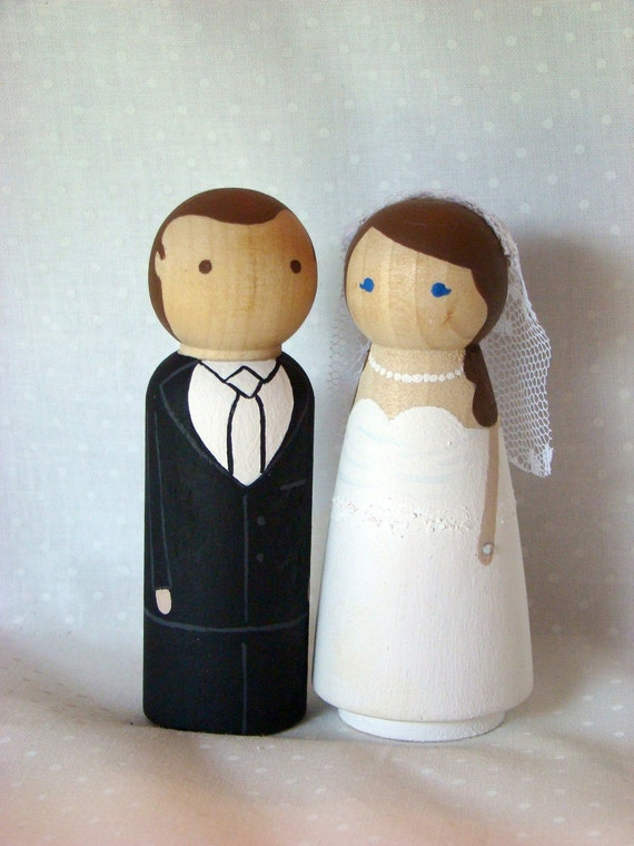 wedding cake toppers wooden dolls custom wood doll wedding cake topper 26642