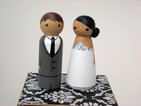 Custom Peg Doll Wedding Cake Toppers