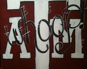 Handpainted Canvas - 11 x 14 ATM Whoop - Maroon, Black and White