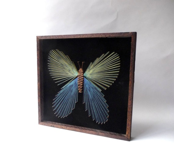 1970s Butterfly String Art Wall Hanging By Bananastarchild