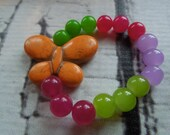 RAINBOW O FUN Orange Turquoise Butterly With Rainbow Color Jade Beads-Baby-Toddler-Kids