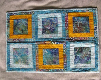 Quilted batik wall hanging, small table runner