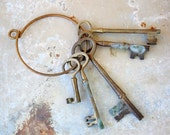 Set of Five Large Brass Skeleton Keys