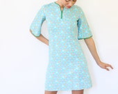 Vintage 60s Mini Dress Aqua Blue Floral Print with Bell Sleeves Small