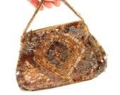 Vintage Purse 20s 30s Gold and Brown Sequin Handbag Clutch Czechoslovakia