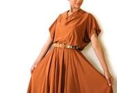 Vintage Dress Burnt Orange Circle Skirt Rust Medium Large 70s