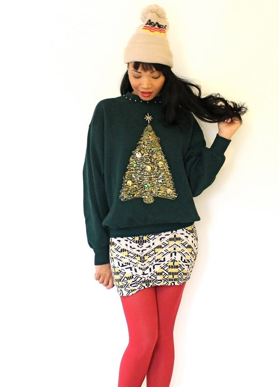 Vintage 1980s Christmas Sweatshirt Ugly Christmas Party Puff Paint Tree Gold Sequins Small Medium Unisex