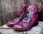 Vintage Granny Grunge Maroon Boots 4.5