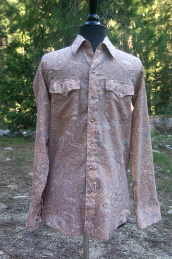 Vintage 1970s Mens Pearl Snap Polyester Western Shirt Small