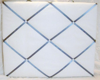 White/cream and grey/blue ribbon Memory Board French Memo Board OR customize your own colors
