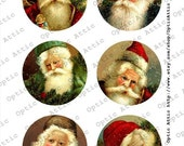 Christmas Victorian Santas Vintage Set 3 x 3 Inch Round Instant Download Digital Collage Sheet OpticAttic 178