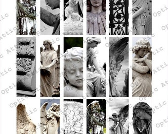 Stone Angels 1 x 3 Inch Rectangle Instant Download Digital Collage Sheet OpticAttic 142