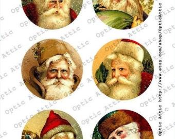 Vintage Victorian Santas Set Christmas 3 x 3 Inch Round Instant Download Digital Collage Sheet OpticAttic 198