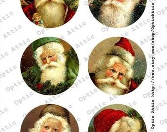 Christmas Victorian Santas Vintage Set 3 x 3 Inch Round Instant Download Digital Collage Sheet OpticAttic 178