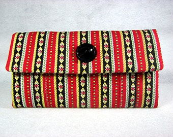 Womens fabric wallet quilted vintage fabric and button in red black yellow and green