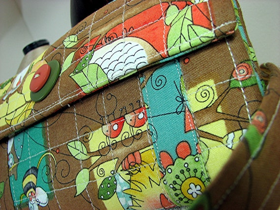 Quilted fabric wallet, woodland character, free shipping, brown background