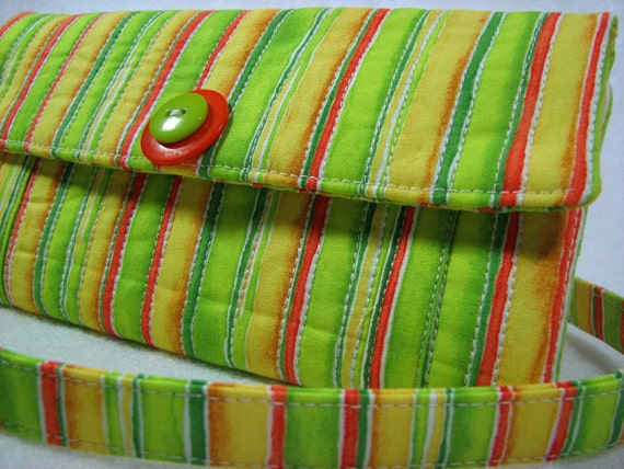 Womens wallet  handmade quilted cotton lime green orange stripes