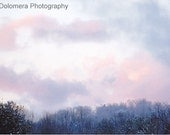 Winter Sunset, Western North Carolina Mountains, 5x7 Color Nature Photograph, Snow, Fine Art Wall Decoration, Clouds