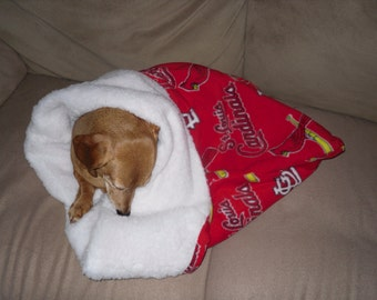 Small Dog Red St. Louis Cardinals Print Snuggle Sack / Sleeping Bag FREE SHIPPING within the US