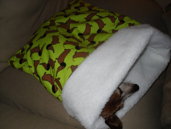 Small Dog Green With Dachshunds / Doxies Print Snuggle Sack / Sleeping Bag