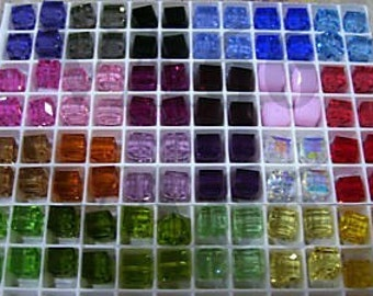 8p 5601 8mm Swarovski Crystals Cube 24 Color Choices Loose beads jewelry making cube square beads