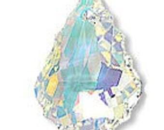 2p 22mm x 15mm Swarovski Baroque Pendant Crystal AB 6090 Loose Beads Jewelry making top drill pendant bead