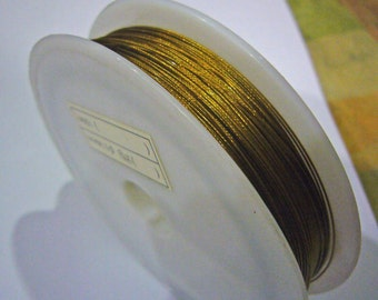 100m Beading Wire Gold Color Tiger Tail Crystal 0.38mm for DIY Jewelry Making Supplies Nylon Coated Steel wire craft wire Findings