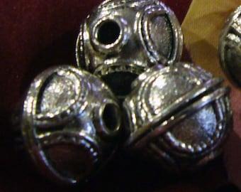 DIY 12mm Findings Silver Tone Round Bali Chunky Beads 4pcs Bali beads Tibetan