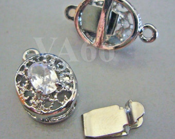 2p Rhinestone 1-strand 18K White Gold Plated Clasps Findings CL01 Single Strand for Jewelry Making Supplies