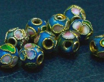 NEW DIY Cloisonne Beads 10pcs Blue 4mm Round Loose beads for jewelry making Loose Beads Sewing Crafts Vintage look