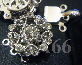 2p Rhinestone 3-strand 18K White Gold Plated Clasps Findings L07 for Jewelry Making Supplies