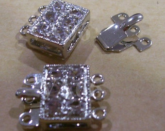 2p Silver Color Rhinestone 3-strand Clasps Findings L32 for Jewelry Making Supplies Fasterners Closures Clasp