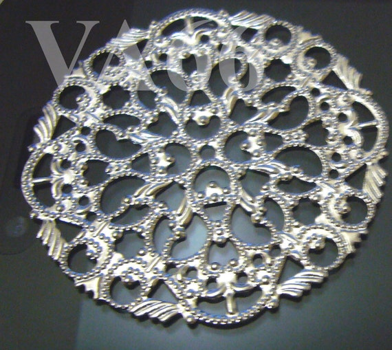 DIY Round 4pcs Large 45mm Silver Filigree Lace Wrap Vintage look Extension Chandelier Earrings Necklace Parts Findings Jewelry Making