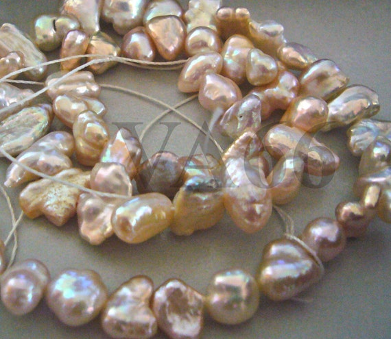 DIY 16 Inches Fresh Water Pearls Random Baroque Shapes Puffy Pearl Beads Peach Pink Loose Beads Pearls Jewelry Making Supplies 9mm to 14mm