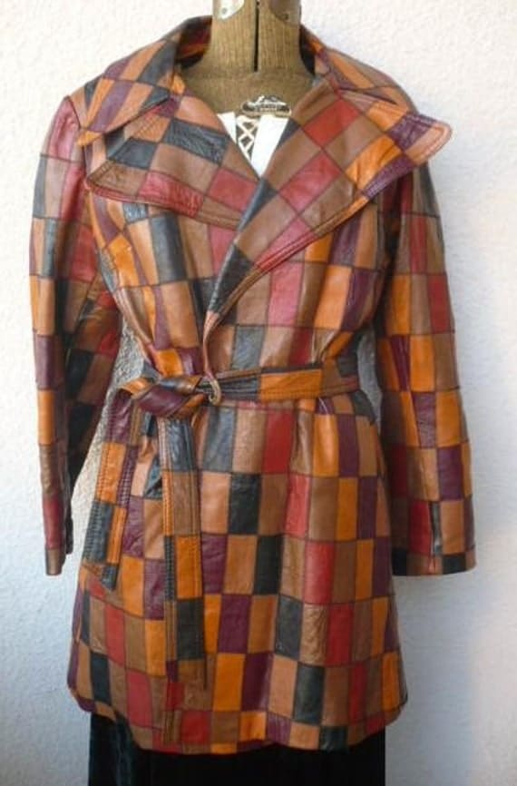 Vintage 70s Patchwork Leather Jacket Spy By