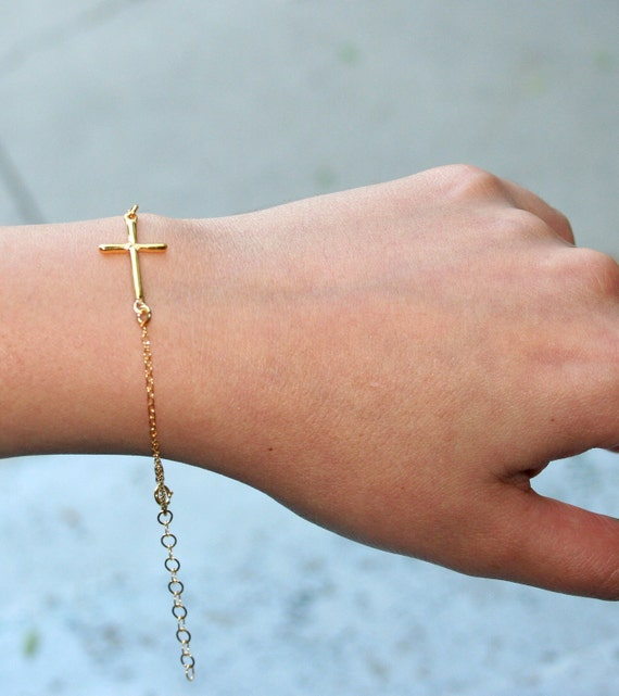 YELLOW GOLD PLATED Sterling Silver Sideways Cross Bracelet