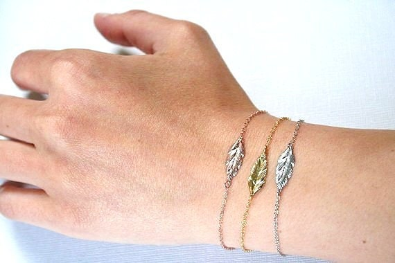 FEATHER BRACELET-Sterling Silver-Rose gold Plated.