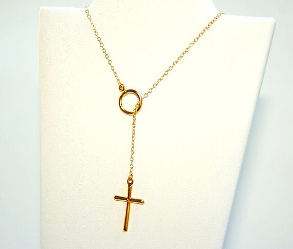 Hanging Cross Lariat Necklace STERLING SILVER 18K Yellow Gold Plated
