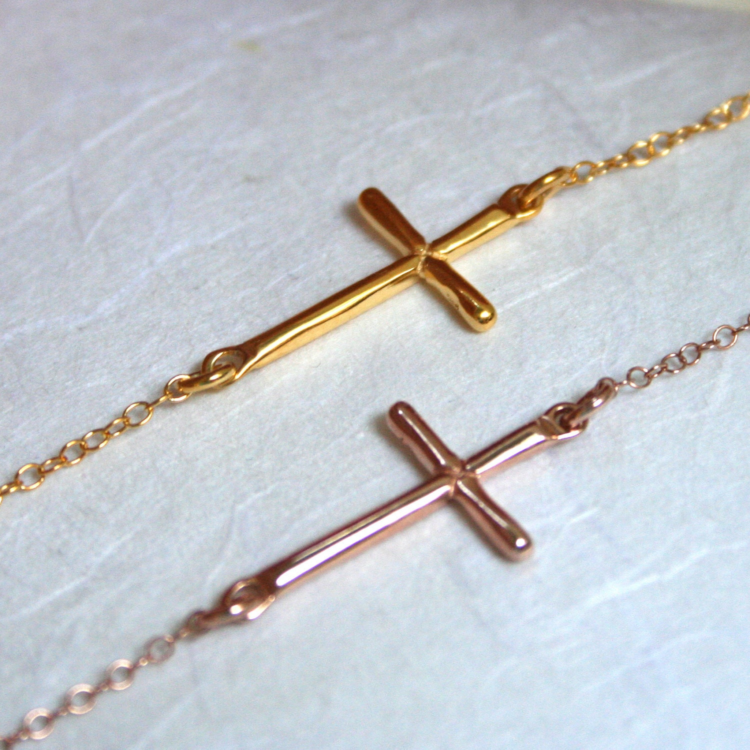 rose gold sideways cross necklace sterling by jewelsandnotes. Black Bedroom Furniture Sets. Home Design Ideas